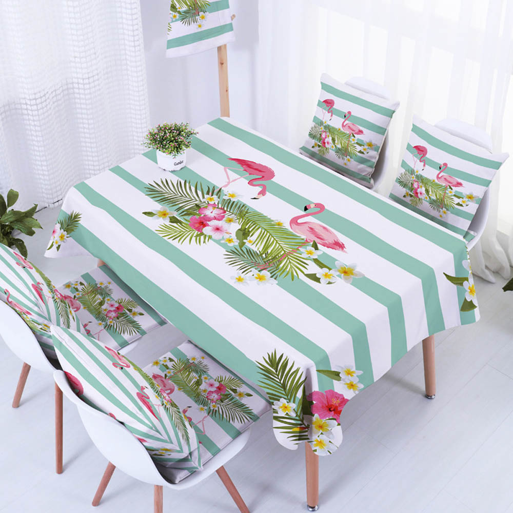 Modern Printed Table Cloth Flamingo Floral for Coffee Dining Home ...