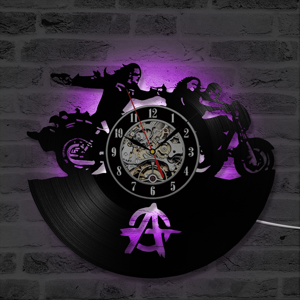Sons of Anarchy Vinyl Record Wall Clock Art Gift Room Modern Home Decoration Vintage Han ...