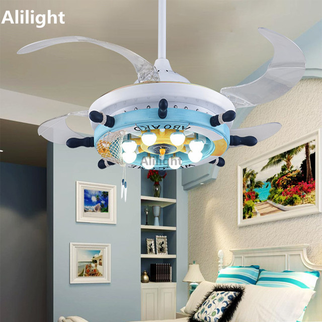 Led Cartoon Ceiling Fans Modern Dining Living Room Indoor Lighting Rustic Light Fixtures Mediterranean Hanging Lamp