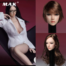 Collectible SDH002 1/6 Scale Asia Female Head Sculpt Black Long Straight/Brown Short Hair Model for 12 Action Woman Body