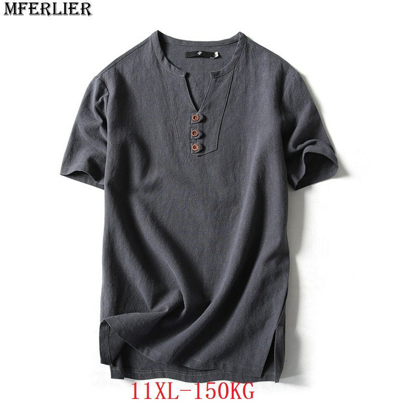 MFERLIER plus size big 9XL 10XL 11XL summer men linen   t  -  shirts   V-neck cotton 7XL 8XL japan style short sleevet tees loose blue