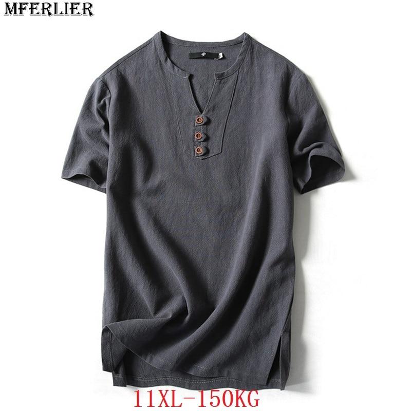 MFERLIER plus size big 9XL 10XL 11XL summer men linen t-shirts V-neck cotton 7XL 8XL japan style short sleevet tees loose blue