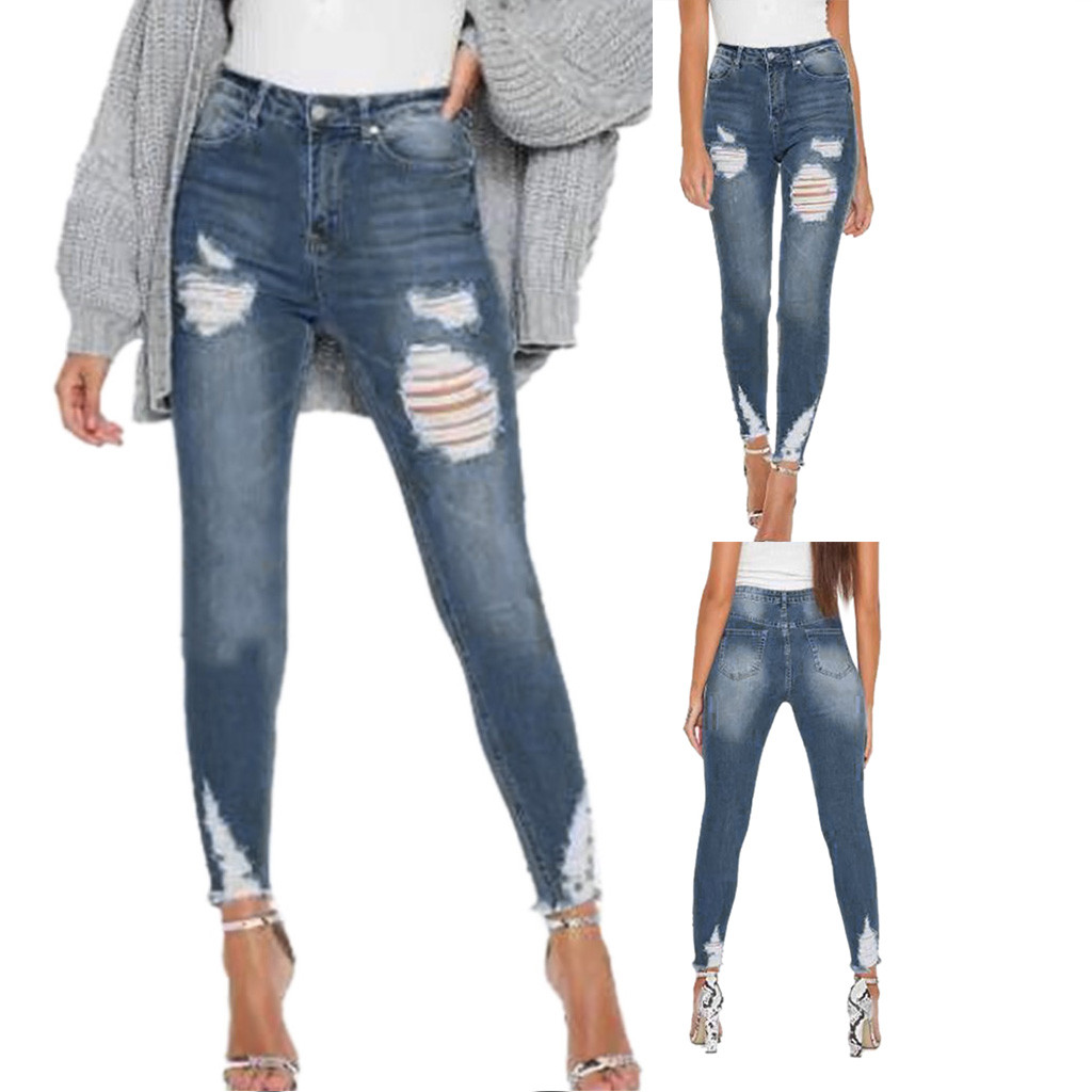 Women Summer Pants 2019 new Stretch Jeans women Stretch Jeans Women's Low Waist Stretch Slim Sexy Pencil Pants  Y712(China)