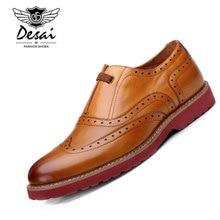 Desai Brand British Style Mens Dress Shoes Genuine Leather Lace Up Retro Designer Wingtip Carved font