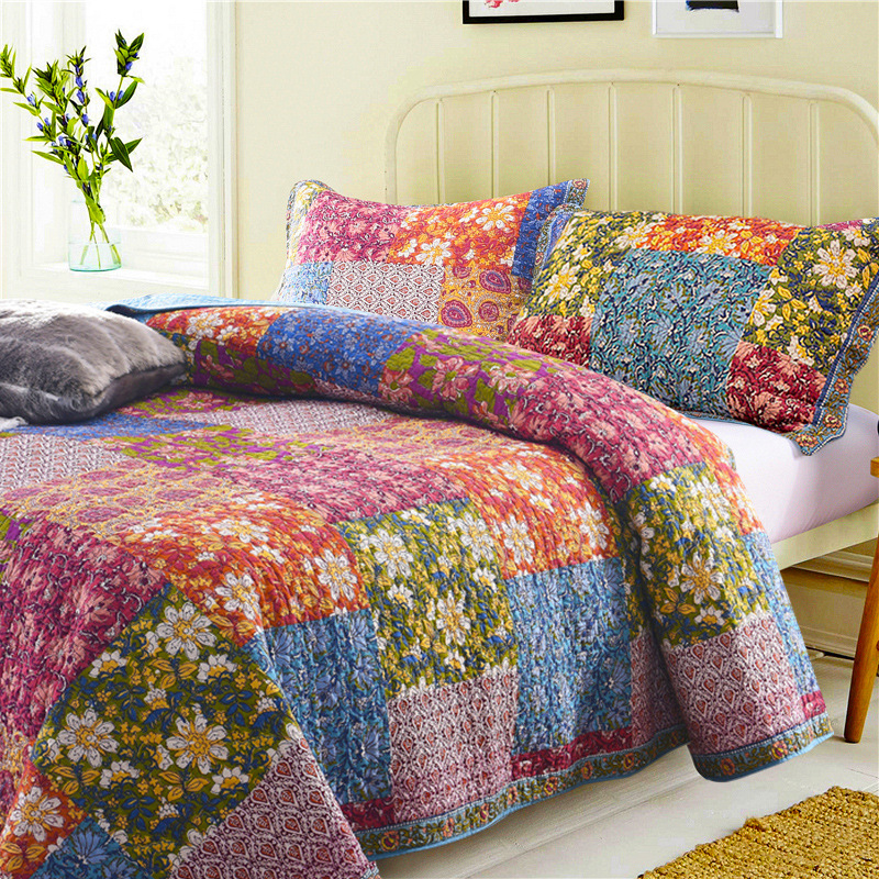 FAMVOTAR 100% Cotton Patchwork Quilted Bedspread Antique Chic 3-Pieces Coverlets Bedspreads Set Blooming Prairie Queen Quilt Set