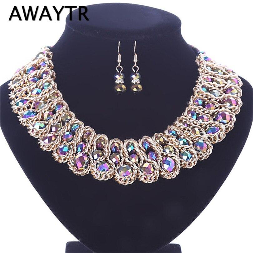 56ab0988cdbd AWAYTR clásico Multicolor tejido collar cadena gargantilla diamantes de  imitación cristal collar pendientes cuentas conjuntos de joyas para mujer