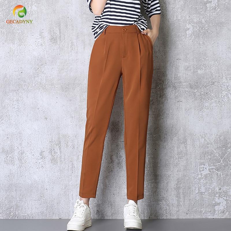 Hot Sale Harem Pants Women 2019 Summer Autumn Pants Casual OL Pants Elastic High Waist Slim Work Pants Plus Size 3XL Trousers