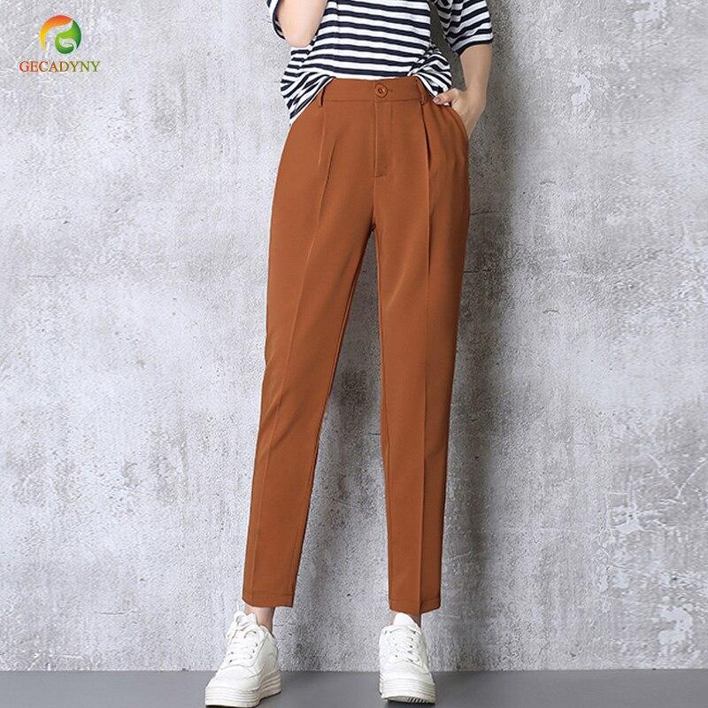 Venda quente Harem Pants Mulheres 2019 Outono Verão Calças Casuais OL Calças de Cintura Alta Elástico Fino Calças de Trabalho Plus Size 3XL Calças