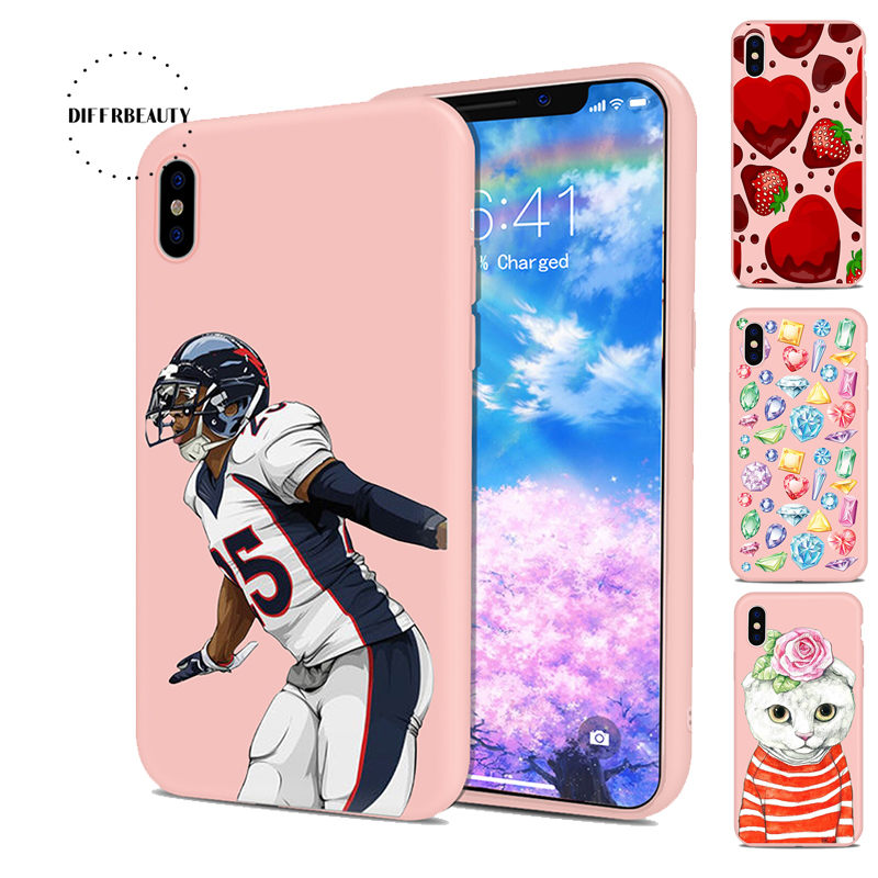 DIFFRBEAUTY Athlete Strawberry Animal Cat Colorful Diamonds Sports Equipment TPU Phone Case For iPhoneX 8 8Plus 6S 7 6Plus 5SE