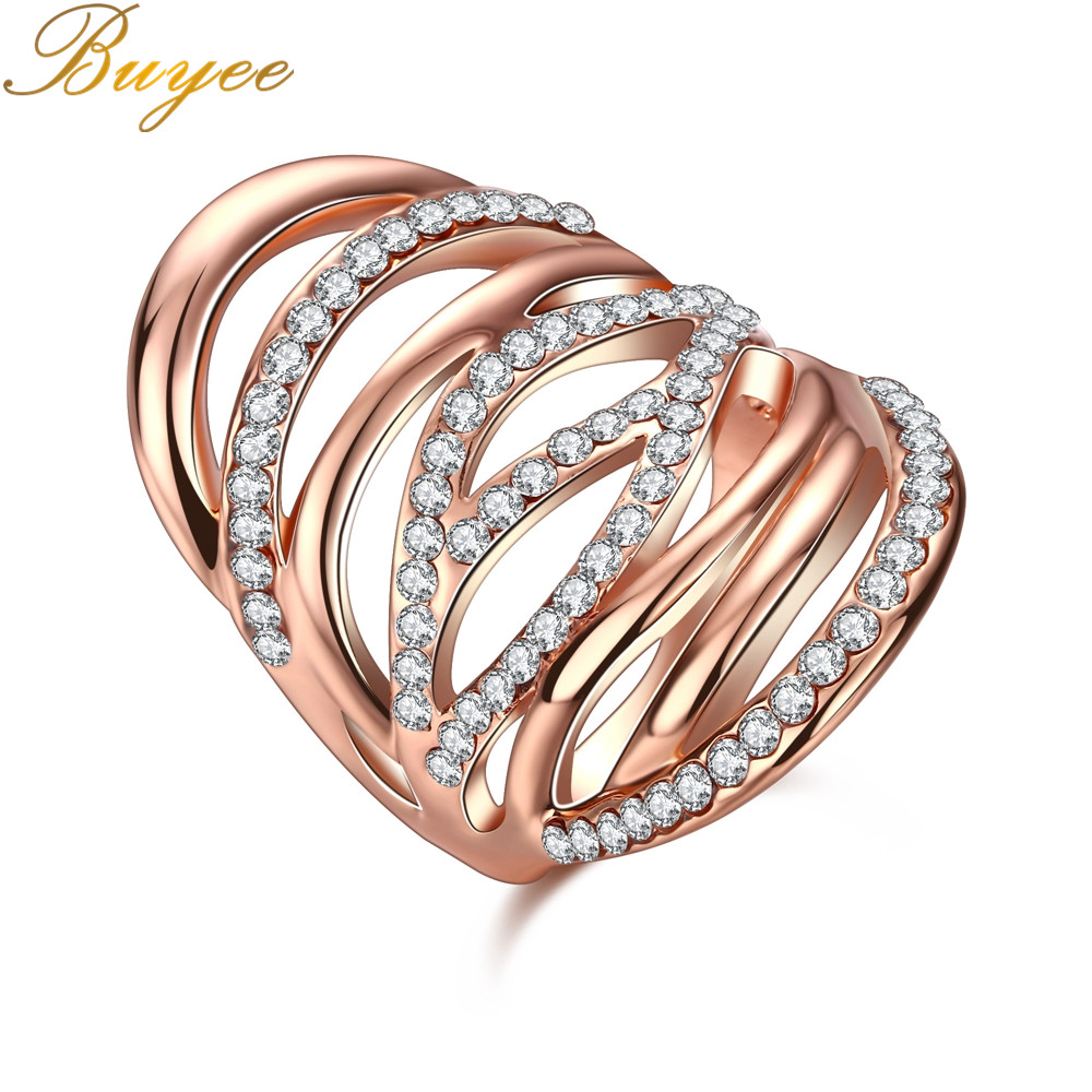 BUYEE New Width Punk Style Rings Multiple Intersect Lines Rings with Zircon Charm Ring for Women Jewelry