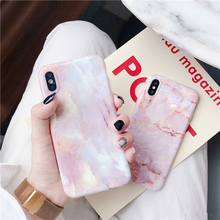 Fashion pink marble Case for iphone X XR XS Max Glossy soft silicone For 6 6s 7 8 7plus phone back cover