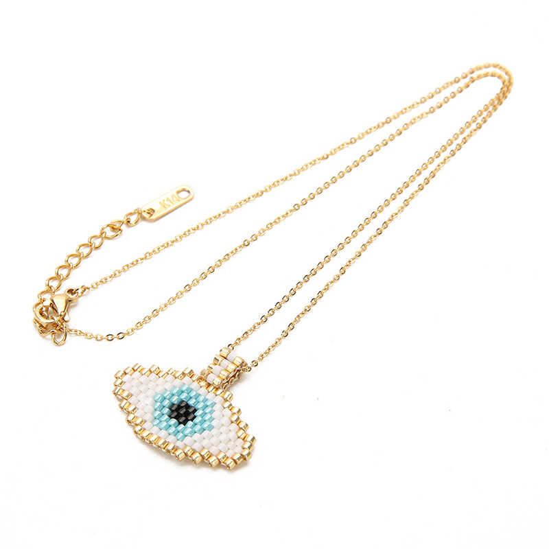"""Boho Dropshipping"" exclusive new evil eye pendant necklace ""Miyuki"" pearl gold handmade necklace lady Fatima jewelry gift"
