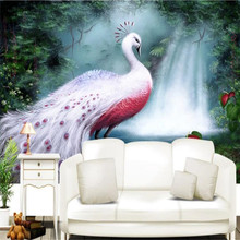 Forest waterfall white peacock mural sofa background wall professional production wholesale wallpaper custom photo