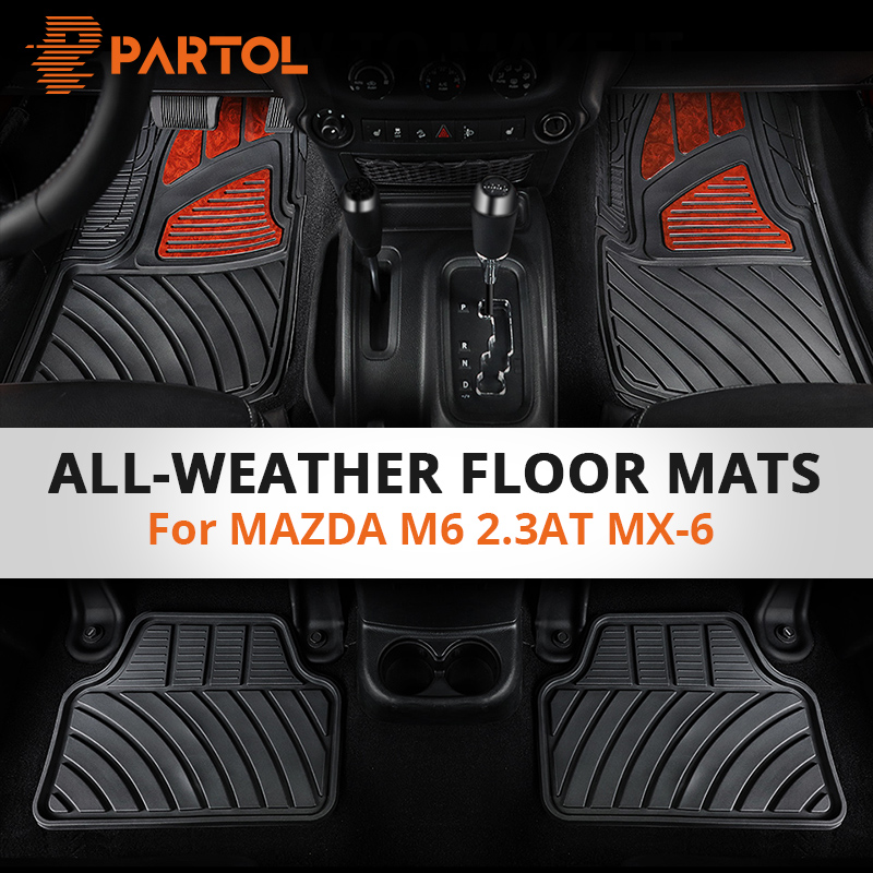 Partol 4Pcs/Set Car Floor Mats Anti-Slip Durable Auto Floor Mats Interior Car Styling Floor Mat for MAZDA 6Series M6 2.3AT MX-6