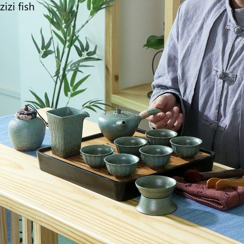 Set de thé de voyage en plein air Portable sac tasse céramique chinois rétro kung fu thé ensemble thé cérémonie ensemble accessoires de décoration de la maison - 3