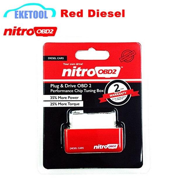1 stücke NitroOBD2 Diesel Rot Zunehmende Leistung Des Motors Nitro OBD2 Chip Tuining Box Auto OBD Schnittstelle Kostenloser Versand