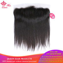 Queen Hair Brazilian Virgin Straight Hair 13x4 Lace Frontal Closure Natural Color 100% Human Hair Medium Brown Swiss Lace(China)