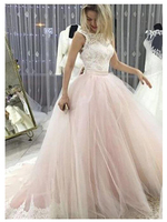 Lorie Pink Bride Dresses 2019 Lace Top Wedding Dresses Puff Tulle Wedding Gowns Custom Made