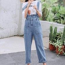 цена на S-4XL Autumn Plus Size Overalls Jeans Woman Casual Elastic Waist Denim Pants Female Korean Pocket Jean Long Pants Overalls Women