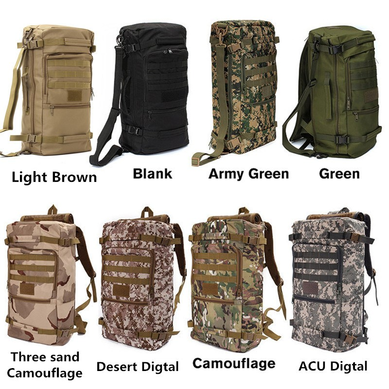 50L Canvas Outdoor Sports Military Tactical Rucksack Camping Hiking Backpack Climbing Bag Double Shoulder Bag