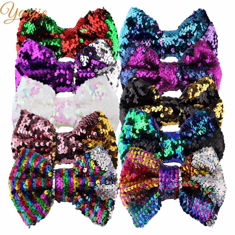 """8pcs/lot bows 2018 Sole Mermaid Changable Double-Side 5"""" Glitter Sequin Bows Girl DIY Hair Accessories For Kids Hair Clip"""