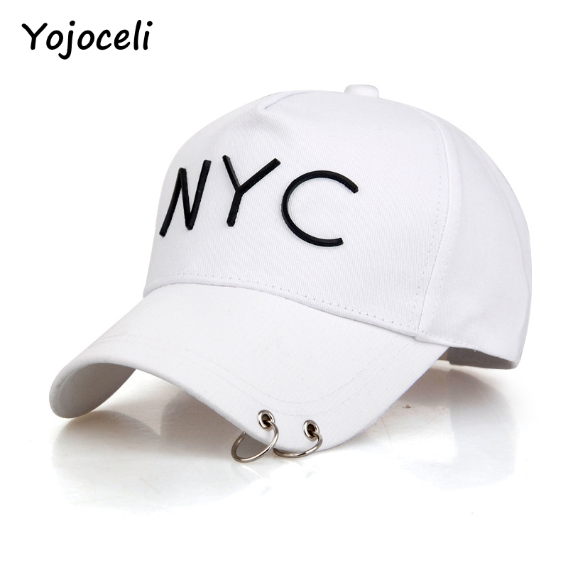 28d1649a3f4 Yojoceli metal ring NYC letter embroidery baseball hats caps women men 2017  cool street style headwear hats-in Baseball Caps from Apparel Accessories  on ...