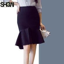 Alta cintura Faldas nueva venta caliente de las mujeres de moda corea del  estilo rizado Slim elegante Oficina señora trabajo bla. c87e2d441d24