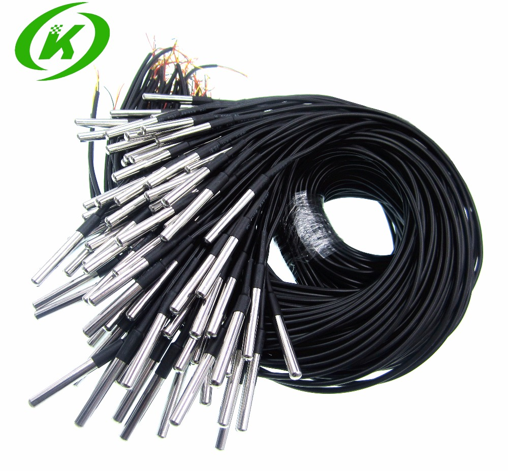 10pcs/Lot <font><b>DS1820</b></font> Stainless steel package Waterproof DS18b20 <font><b>temperature</b></font> probe <font><b>temperature</b></font> <font><b>sensor</b></font> 18B20 image