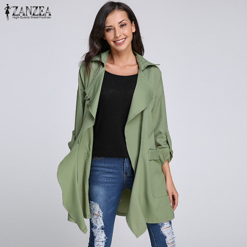ZANZEA Fashion Women   Trench   Lapel Long Sleeve Casual Loose Coat 2018 Autumn Female Chiffon Cardigan Solid Thin Outwear Plus Size