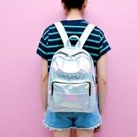 High Quality Hologram Women Backpacks PU Korean School Backpacks For Teenagers Girls Travel Shoulder Bag Waterproof
