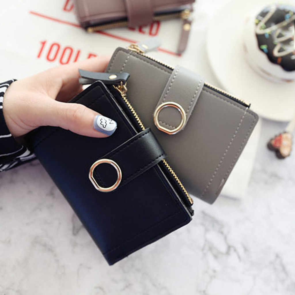 2019 ผู้หญิงสไตล์สั้นแฟชั่นน่ารักกระเป๋าถือเหรียญกระเป๋ากระเป๋าสตางค์ซิปกระเป๋า Portefeuille กระเป๋าสตางค์หญิง