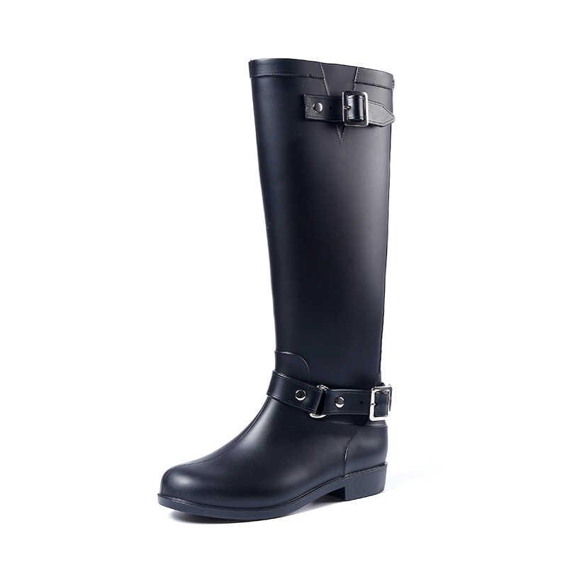 95ade8e6f ... Резиновые сапоги для дождливой погоды, женские сапоги В рыцарском  стиле, черные ботинки, красные