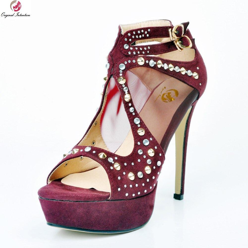 Original Intention Fashion Women Sandals Platform Open Toe Thin Heels Sandals High-quality Wine Red Shoes Woman Plus Size 4-15