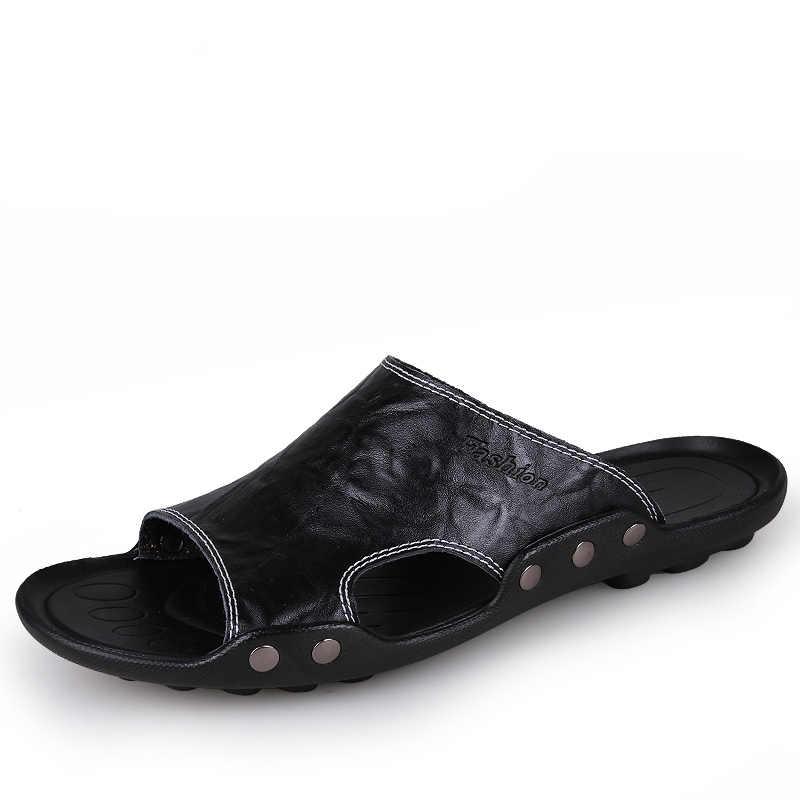 6d43e5c795f6 ... Summer Men Sandals Pu Leather Men Beach Roman Sandals Brand Men Casual  Shoes Flip Flops Thong ...