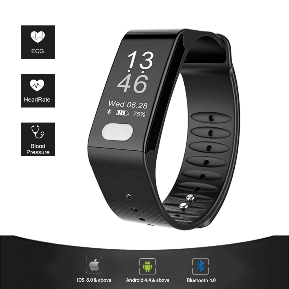 Sports Fitness Tracker Smart Bracelet T6 Heart Rate Monitor ECG Blood Pressure Fitness Band Pulse Wrist Watch for Men and Women wireless heart rate monitor watch smart pedometer fitness tracker for sports