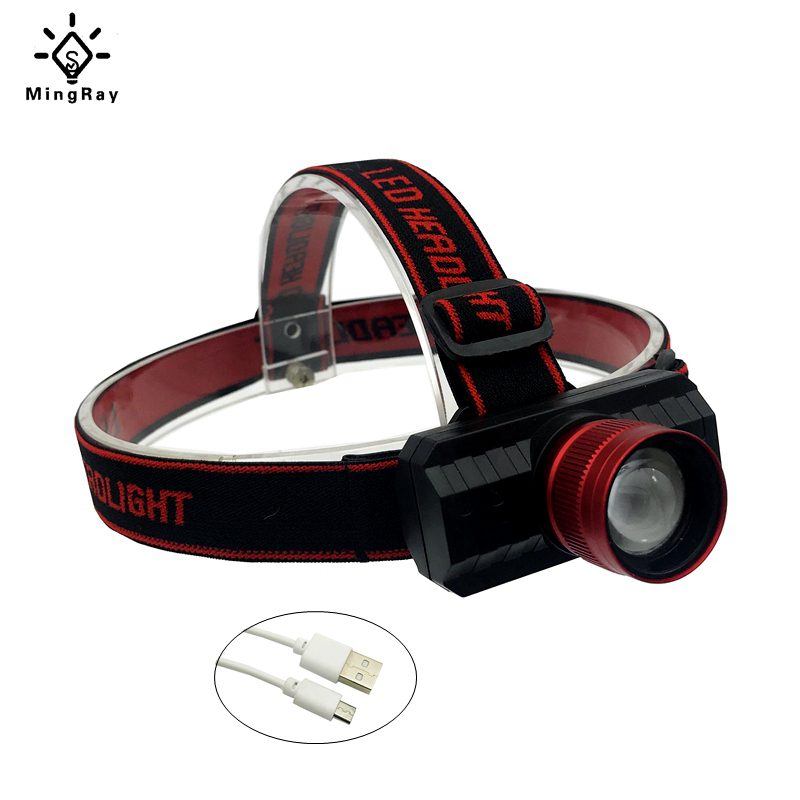 MingRay USB Rechargeable 18650 Headlamp Zoom 5w Cree Q5 LED Head Lamp Adjustable Band Headlight Fishing Camping Stroble Light