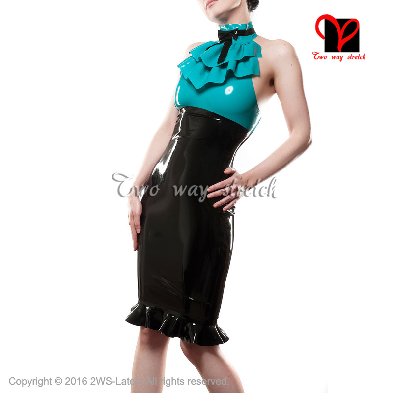 Sexy jade green and black Halter Latex Dress front frilles and bows Rubber dress Playsuit Bodycon