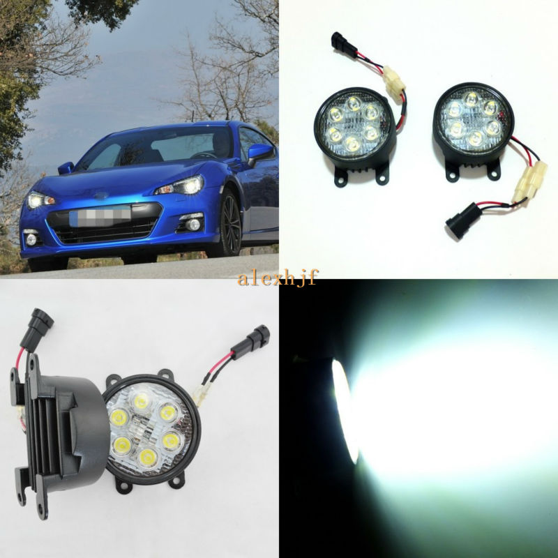 July King 18W 6LEDs H11 LED Fog Lamp Assembly Case for Subaru BRZ 2013~ON etc, 6500K 1260LM Daytime Running Lights july king led daytime running lights 6500k 18w led fog lamps case for honda crv fit city crosstour everus and acura 2013 on etc