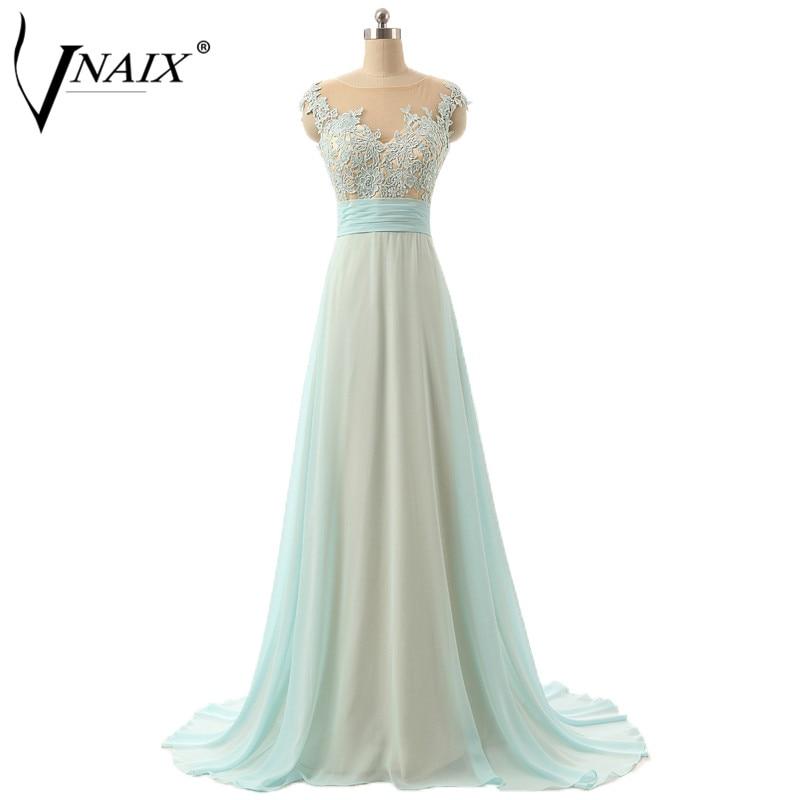 Vnaix E1044 Evening Dress Cap Sleeve With Lace Pleated Waist A Line Chiffon Court Train Vestido De Noche Formal