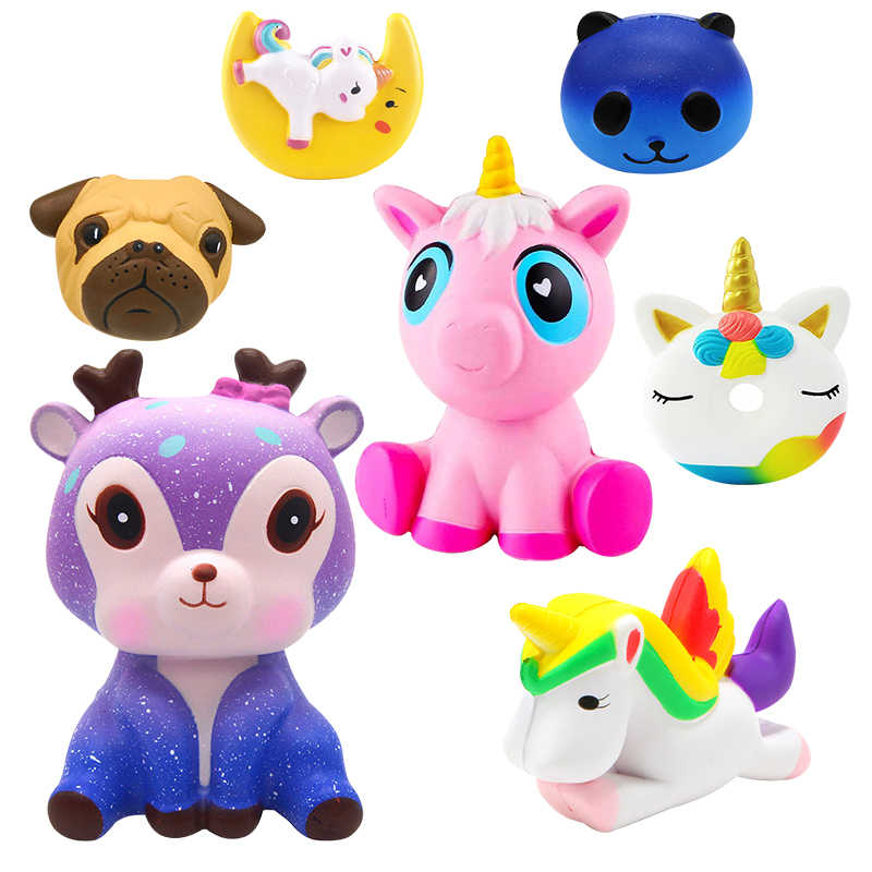 Kids Leuke Simulatie Animal PU Squishy Langzaam Stijgende simulatie Squeeze Decompressie Kawaii Eenhoorn Squish Speelgoed Stress Reliever