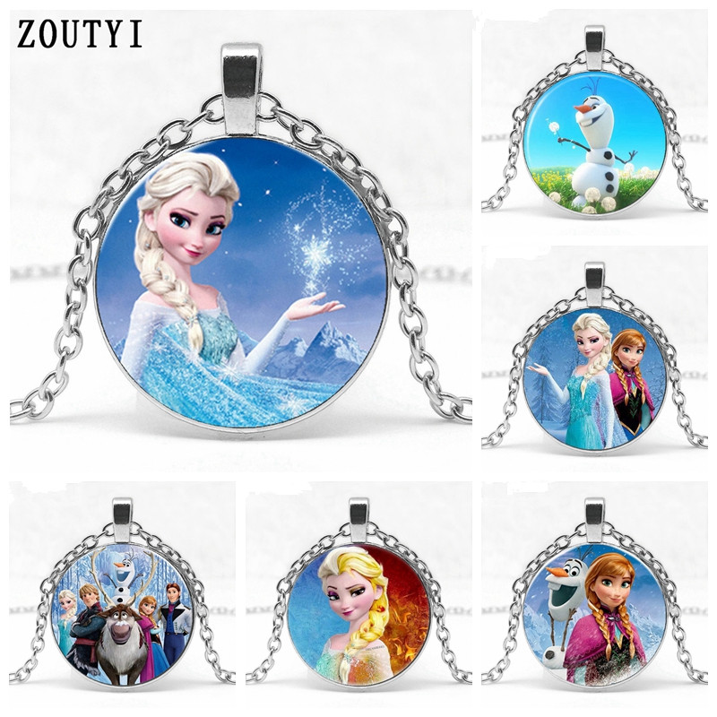 NEW FROZEN  PRINCESS ELSA SOILD  DOME 16 INCH SILVER   NECKLACE GIFT BOXED