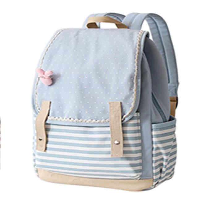 Japão e estilo coreano mochila fresco listrado de adolescentes meninas mochilas bolsa de viagem Laptop withy bonito rosa coelho