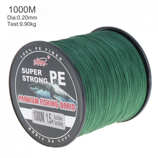 Best Offers 1000m Green Super Strong Fishing Line 4 Strands Weaves PE Braided Fishing Wire Rope Multifilament Fishline