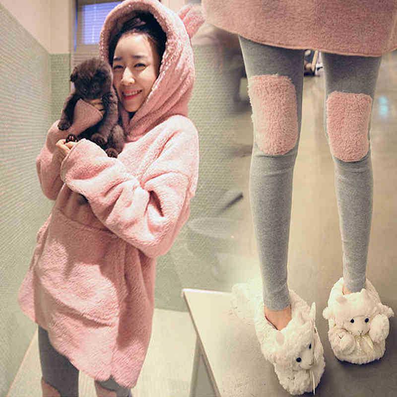 High Quality Women Cute Flannel Fleece   Pajamas     Sets   Winter Long Sleeve Pyjamas Feminino For Women Hooded Sleepwear Homewear 811