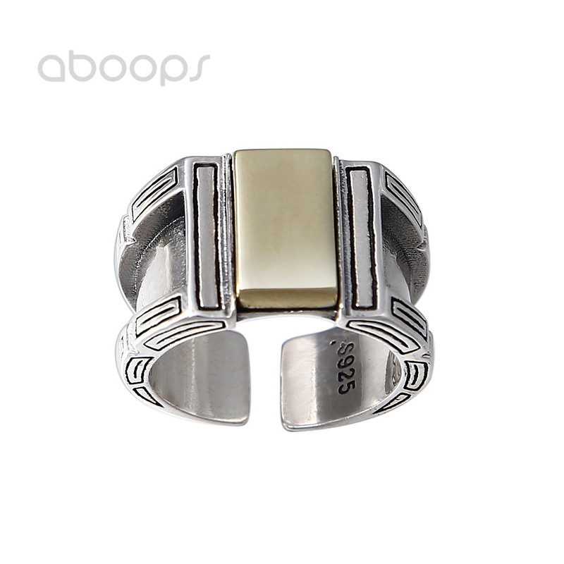 Two Tone Wide 925 Sterling Silver Open Ring for Men Boys Adjustable 16mm Free Shipping italians gentlemen пиджак