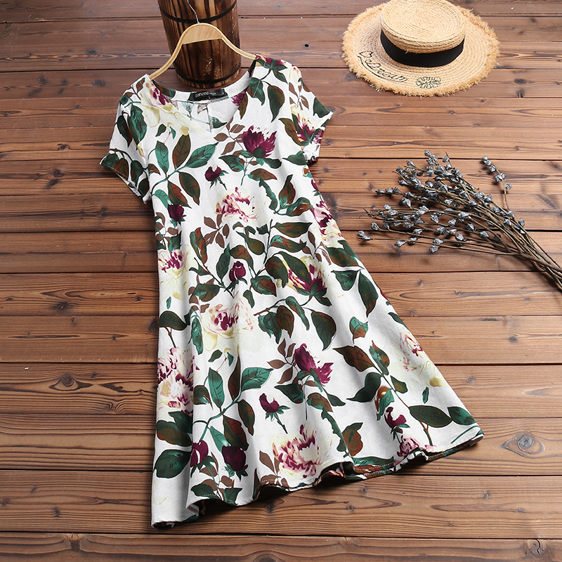 ZANZEA Women Summer Short Sleeve Cotton Linen Dress Vestido Robe Kaftan Femme Vintage V neck Floral Printed Party Sundress 5XL 14
