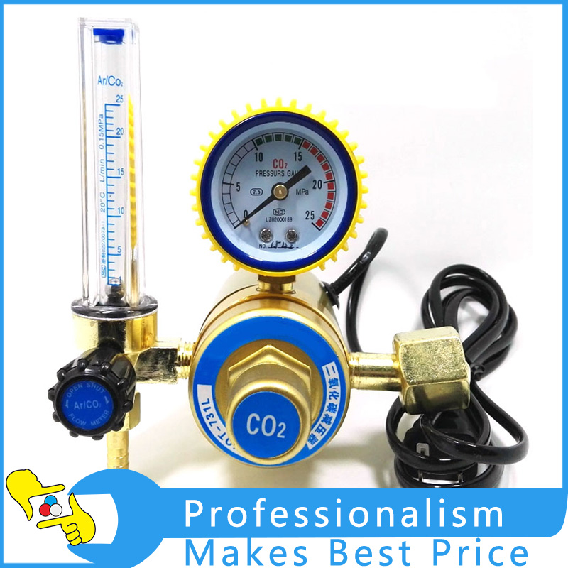 36V / 220V Carbon Dioxide Table Carbon Dioxide Pressure Reducing Valve CO2 Regulator CO2 Gas Mig Tig Flow Meter Regulator htp argon co2 mig tig flow meter control valve regulator reduced pressure gas flowmeter welding weld flowmeter