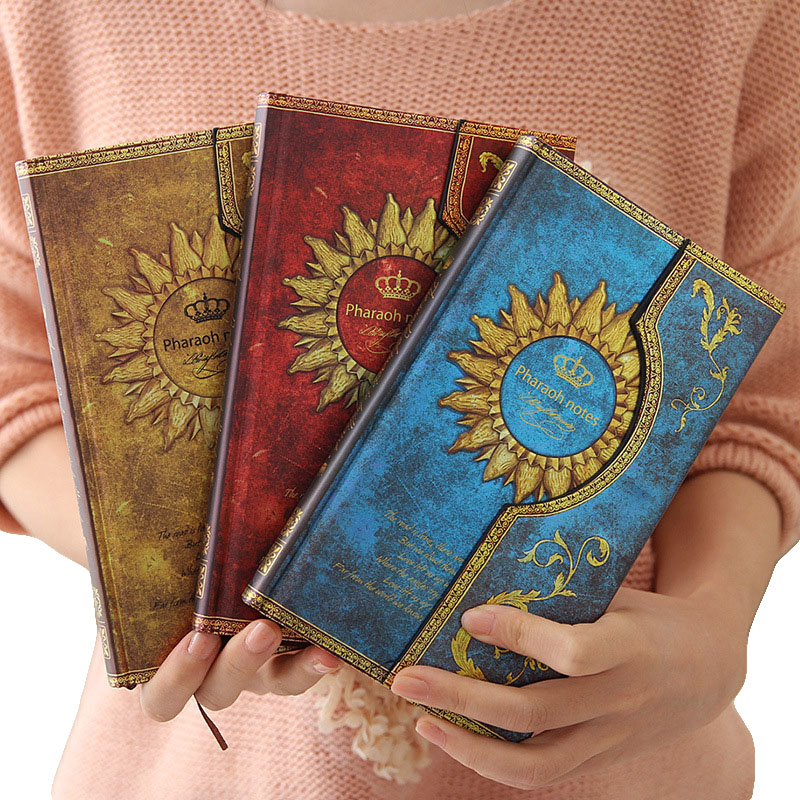 96 Sheets Creative Hardness Pharaoh Sunflower Pattern Notebook Retro Classic Magic Magnetic Notepad Daily Memos Notepad vintage creative the twilight saga breaking dawn notebook with magnetic snap fashion trend retro hardcover notepad memos