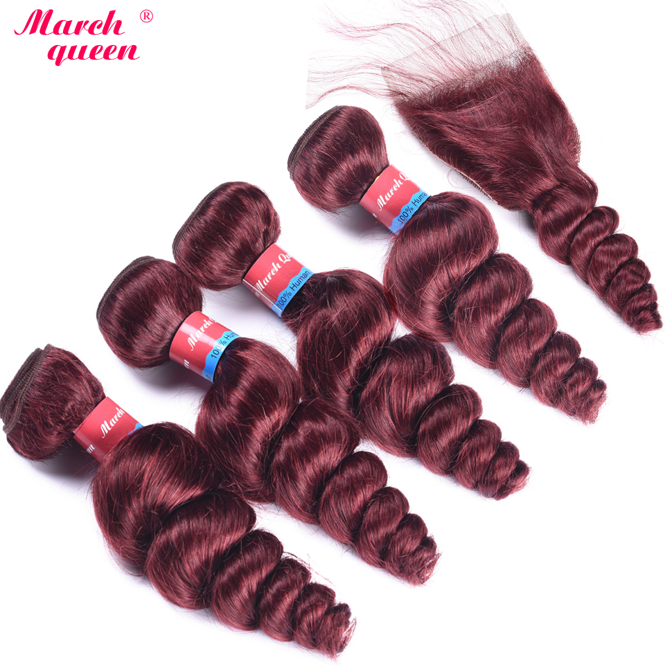 March Queen Peruvian Hair Bundles With Closure 99J Red Wine Color 4 Bundles Human Hair Loose