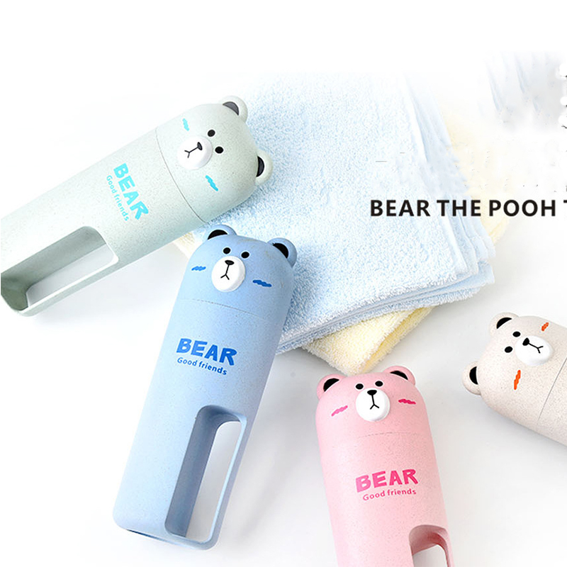 FDA Watter Bottle Cute Bear Water Bottle with Hand Grip for Children School Student with Free Toothbrush